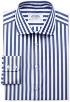 Charles Tyrwhitt Classic Fit Semi-Spread Collar Egyptian Cotton Stripe Navy Dress Casual Shirt Single Cuff Size 15.5/35