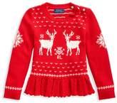 Ralph Lauren Little Girl's Reindeer Peplum Sweater
