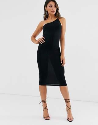 Asos Design DESIGN going out one shoulder bodycon midi dress in black
