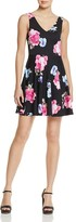 Aqua Floral Scuba Fit-and-Flare Dress - 100% Exclusive