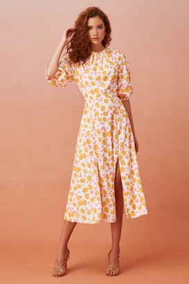 Keepsake DISSOLVE SHORT SLEEVE MIDI DRESS porcelain rose
