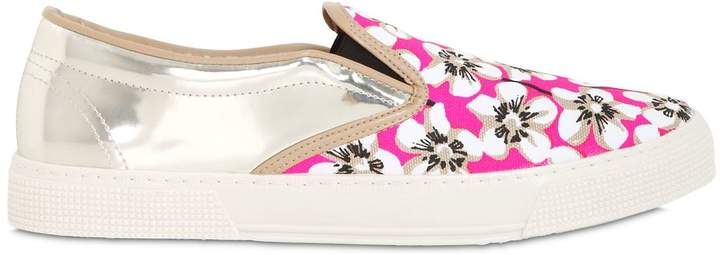 Kurt Geiger Floral Printed Canvas & Leather Sneakers