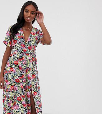 Glamorous Tall midi dress with pleated skirt and tie waist in vinatge print-Multi