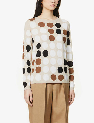 Max Mara Alcazar polka-dot silk and cashmere-blend jumper