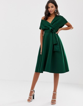Asos DESIGN fallen shoulder midi prom dress with tie detail in bottle green