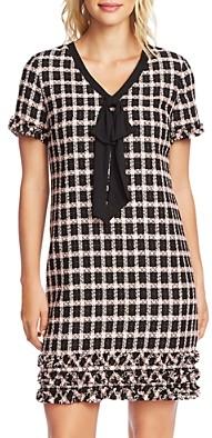 CeCe Grid Tweed Tie-Neck Dress
