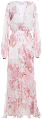 Caroline Constas Liv Wrap-effect Ruffled Printed Silk-chiffon Maxi Dress