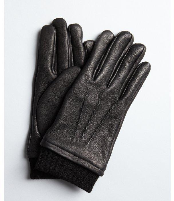John Varvatos black pebbled leather cashmere-wool knit trimmed gloves