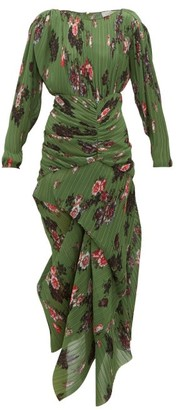 Preen by Thornton Bregazzi Ofira Plisse Floral-print Georgette Midi Dress - Womens - Green Multi