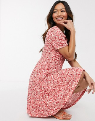 French Connection drape neck jersey floral mini dress