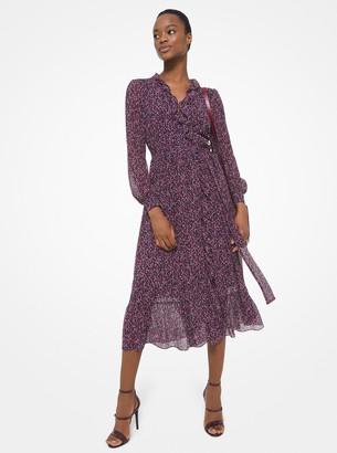MICHAEL Michael Kors Floral Crinkled Georgette Ruffled Wrap Dress