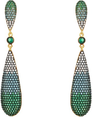 Latelita Coco Long Drop Earrings - Green Gradiant Gold