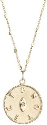 Jennifer Zeuner Jewelry Tal 14K Yellow Gold Vermeil & Diamond Eye Medallion Necklace