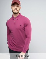 Jack Wills Staplecross Long Sleeve Polo Shirt in Berry - Exclusive