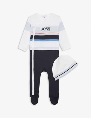 HUGO BOSS Logo cotton babygrow and hat set 1-18 months