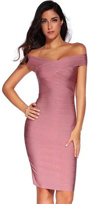 meilun Rayon Sexy Off-Shoulder Stretchy Party Bandage Bodycon Midi Dress Dark Pink