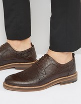 Asos Brogue Shoes in Brown Scotchgrain Leather With Heavy Sole