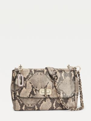 Tommy Hilfiger Soft Turnlock Leather Snake Print Crossover Bag