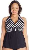 Cole of California Women's Plus-Size Super Stripe Draped Halter Tankini