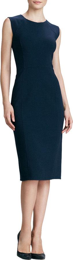 Oscar de la Renta Sleeveless Knit Sheath Dress, Navy
