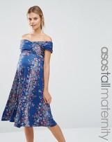 Asos TALL Twist off Shoulder Skater Midi Dress in Vintage Floral