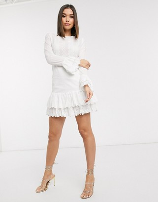 NEVER FULLY DRESSED Eliza broderie dress in white