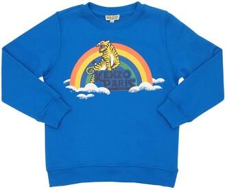 Kenzo Kids Tiger & Rainbow Print Cotton Sweatshirt