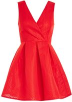 Oh My Love **Textured Plunge Neck Skater Dress