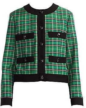 Maje Women's Vivert Plaid Crop Blazer