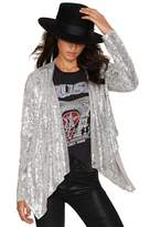 SZIVYSHI Women's Flash Sequin Slim Asymmetry Jacket