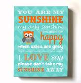 MuralMax Adorable You Are My Sunshine Bedtime Story Rhyme - Woodland Owl Design - Stretched Canvas Nursery Wall Art Decor - Baby Gift idea - High Quality 100% Wooden Frame Construction - Ready To Hang 24X30