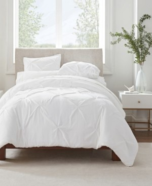 Serta Simply Clean Antimicrobial Pleated Twin Extra Long Duvet Set, 2 Piece Bedding