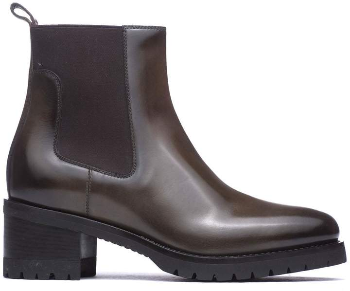 Santoni Ankle Boots In Green Leather