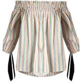 Caroline Constas Lou off-the-shoulder striped cotton top