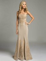 Lara Dresses - Strapless Floral Patterned Champagne Evening Gown 32978