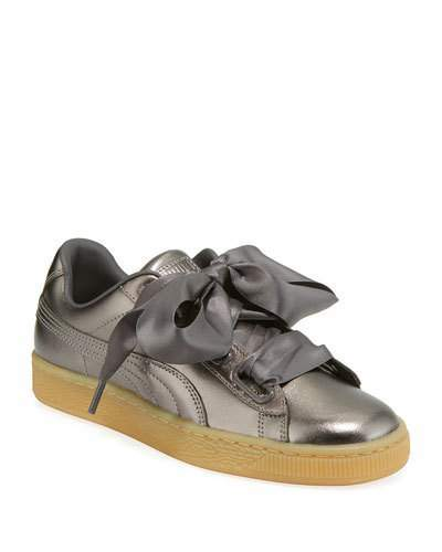 best website 1638f 69de6 Basket Heart Luxe Metallic Leather Sneakers