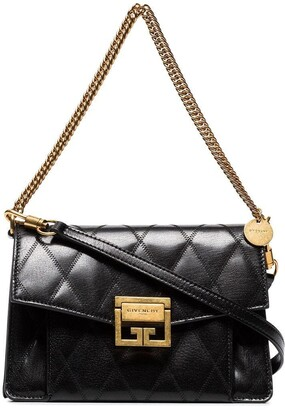 Givenchy Black GV3 small quilted leather shoulder bag