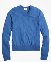 Brooks Brothers Cotton Cashmere V-Neck Sweater
