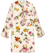 Gucci Rose print silk dress