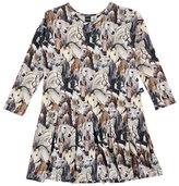Molo Cillie Pleated Horse-Print Dress, Multicolor, Size 2-12
