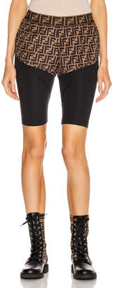 Fendi Logo Legging Bike Short in Black & Tobacco | FWRD