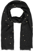 Yours Clothing Yoursclothing Plus Size Womens Ladies Floral Print Glitter Scarf Shawl Wrap