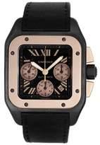 Cartier Santos W2020004 Titanium/18K Rose Gold & Black Strap Automatic 41mm Mens Watch