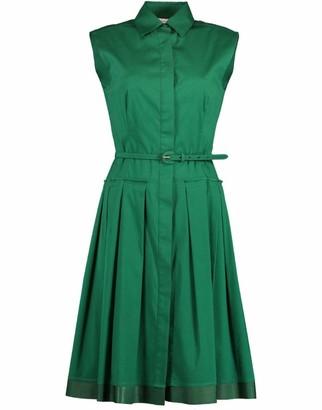 Oscar de la Renta Sleeveless Button Front Belted Dress