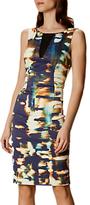 Karen Millen Panelled Abstract Print Pencil Dress, Blue/Multi