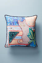 Anthropologie Embroidered Ruby Pillow