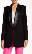 L.A.M.B. Faux Leather Trim Tuxedo Blazer