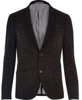 River Island MensBlack Vito textured blazer