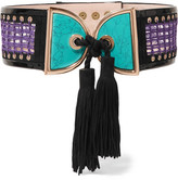 Balmain Embellished Crochet And Suede Waist Belt - Turquoise