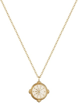 Florence London Life Compass Necklace Gold And Cream